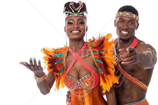 Jött tánc félhosszú szamba táncos mutat Stock fotó © stockyimages