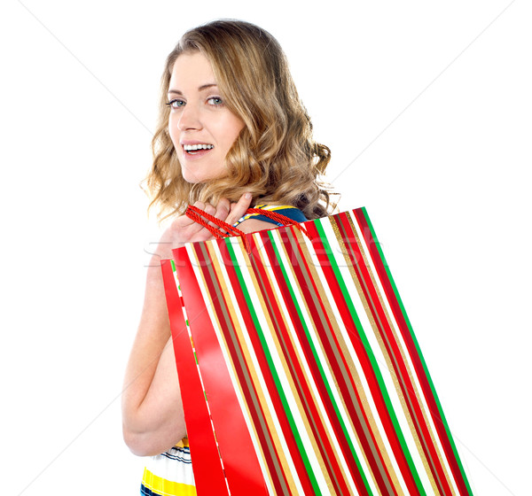 çekici kadın kredi kartı yalıtılmış beyaz kadın Stok fotoğraf © stockyimages