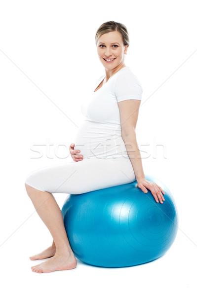 Foto stock: Embarazadas · dama · sesión · ejercicio · pelota