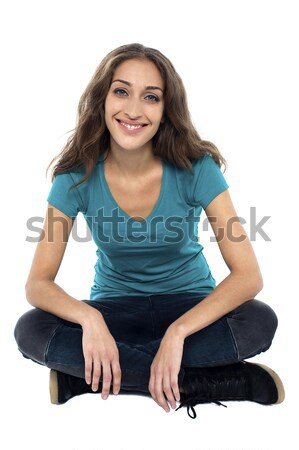 Porträt glücklich lächelnd Sitzung Studio Stock foto © stockyimages