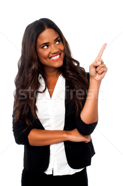 Female representative pointing away Stock photo © stockyimages