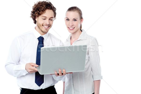 Foto d'archivio: Business · lavoro · laptop · sorridere · colleghi