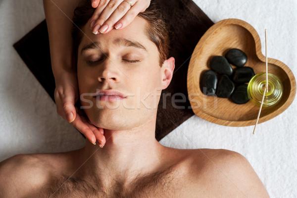 Stok fotoğraf: Genç · adam · yüz · masaj · genç