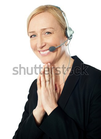 Foto stock: Altos · call · center · representante · acción · posando · sonrisa