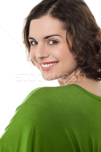 şık portre moda mutlu kadın poz Stok fotoğraf © stockyimages