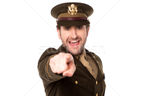 Military serviceman pointing you out Stock photo © stockyimages