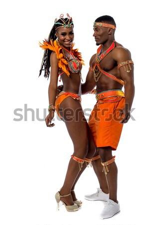 готовый карнавальных улыбаясь красивой женщины костюм Сток-фото © stockyimages
