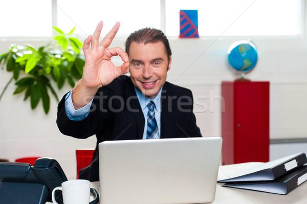 красивый менеджера идеальный знак Сток-фото © stockyimages