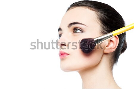Attractive girl portrait on white background Stock photo © stockyimages