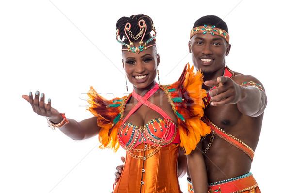üdvözlet ünneplés boldog szamba táncosok pózol Stock fotó © stockyimages