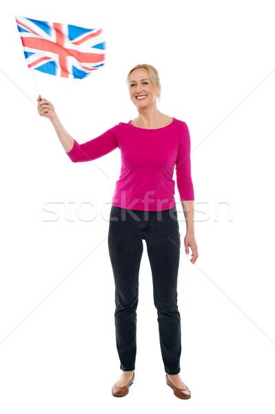 Patriottico signora Regno Unito bandiera Foto d'archivio © stockyimages