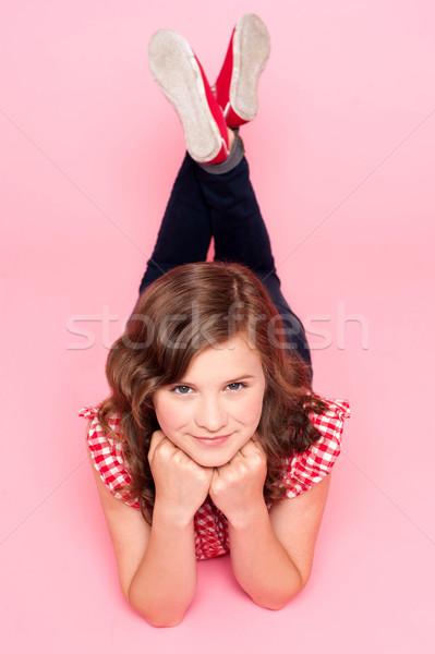 Stock fotó: Portré · aranyos · divatos · trendi · lány · rózsaszín