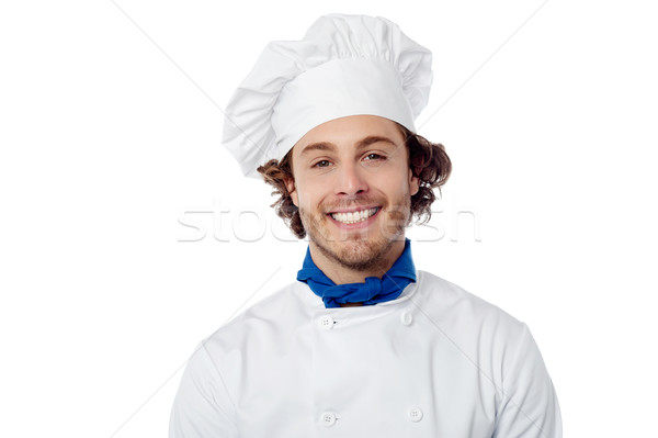 Young male chef wearing toque Stock photo © stockyimages