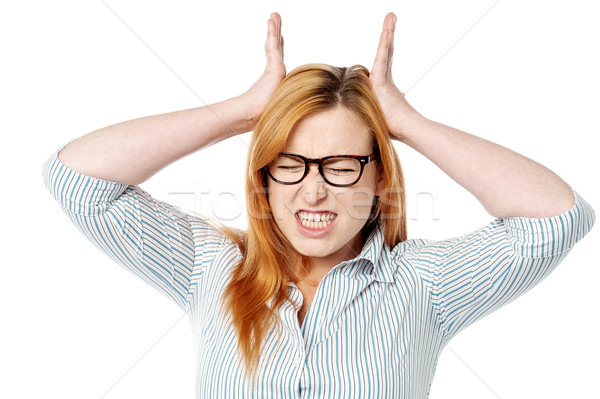 Stock photo: Frustrated woman expressing breakdown