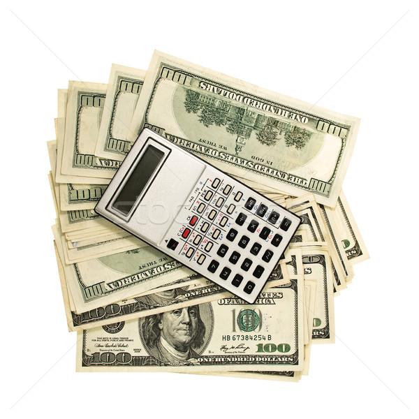 Calculadora dinheiro dólar isolado branco negócio Foto stock © stokato
