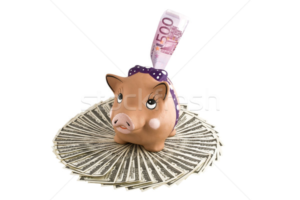 Moneybox - pig with  dollars and euro Stock photo © stokato