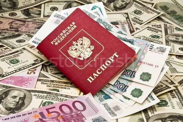 Paspoort geld dollar euro business cash Stockfoto © stokato