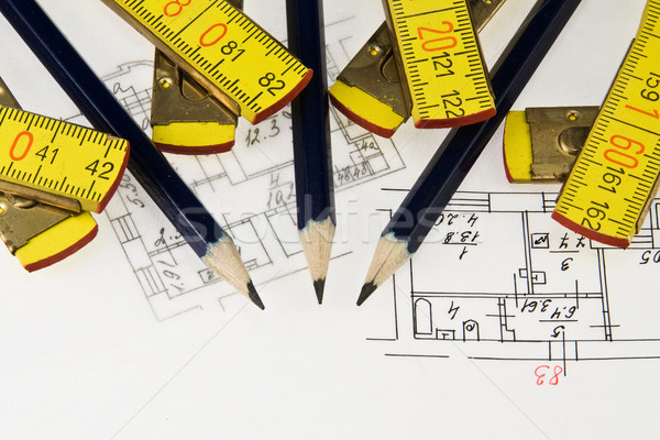 Kalem cetvel mimari plan kâğıt Bina Stok fotoğraf © stokato