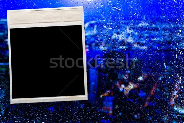 Cam damla su soyut pencere çerçeve Stok fotoğraf © stokato