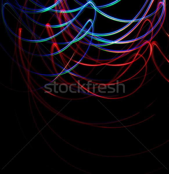 Chaotischen farbenreich Lichter schwarz Hintergrund blau Stock foto © stokato