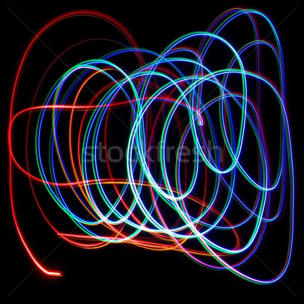 Caótico colorido luces negro azul arco iris Foto stock © stokato