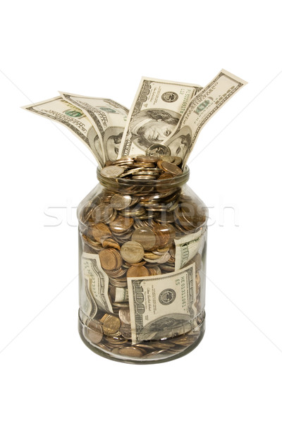 Para cam dolar madeni para yalıtılmış beyaz Stok fotoğraf © stokato