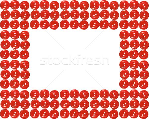 çerçeve kırmızı düğme yalıtılmış beyaz moda Stok fotoğraf © stokato