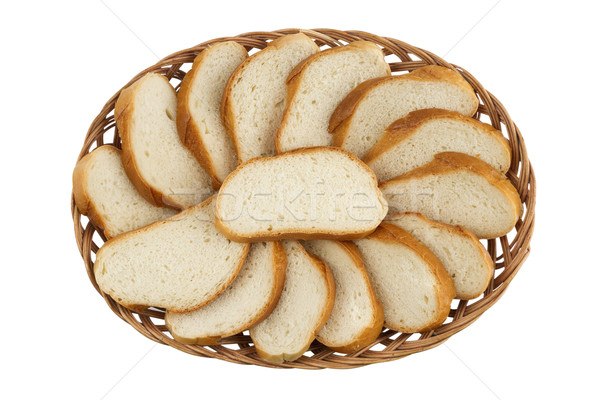 Stockfoto: Mand · gesneden · brood · broodmand · brood · geïsoleerd