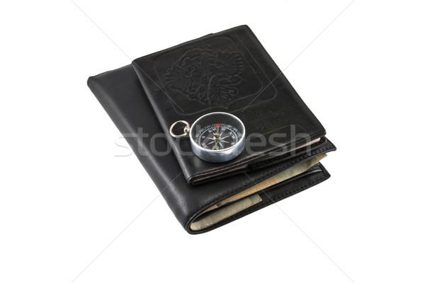 Leather wallet, passport and compass Stock photo © stokato