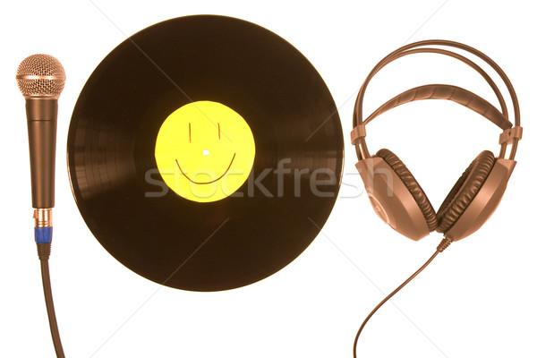 виниловых микрофона наушников запись наушники изолированный Сток-фото © stokato