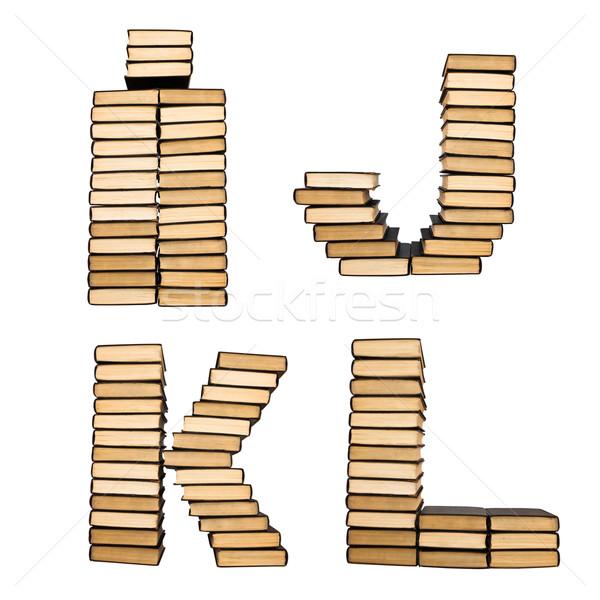 Kitaplar alfabe yalıtılmış beyaz eğitim imzalamak Stok fotoğraf © stokato