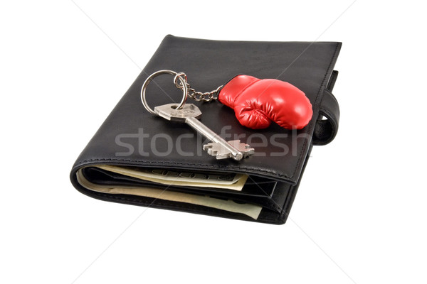 Leather wallet,  keychain, key . Stock photo © stokato