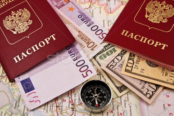Pasaport para harita pusula iki iş Stok fotoğraf © stokato