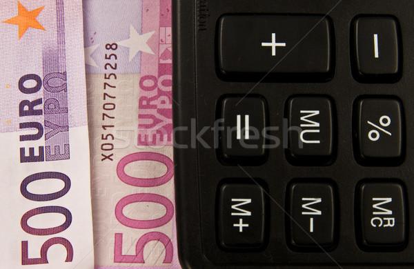 Hesap makinesi euro para notlar finansal yoksul Stok fotoğraf © stokato
