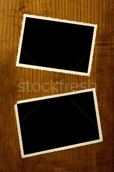 Vintage photo frame parede vazio papel Foto stock © stokato
