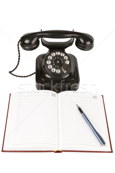 Vintage black phone ,organizer and pen Stock photo © stokato