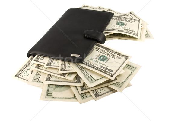 Deri para cüzdan yalıtılmış beyaz iş Stok fotoğraf © stokato