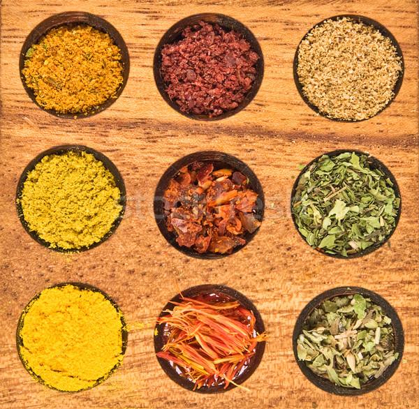 Spice - saffron;  sumak; oragane; mint; fleisch; cumin; coriande Stock photo © stokato