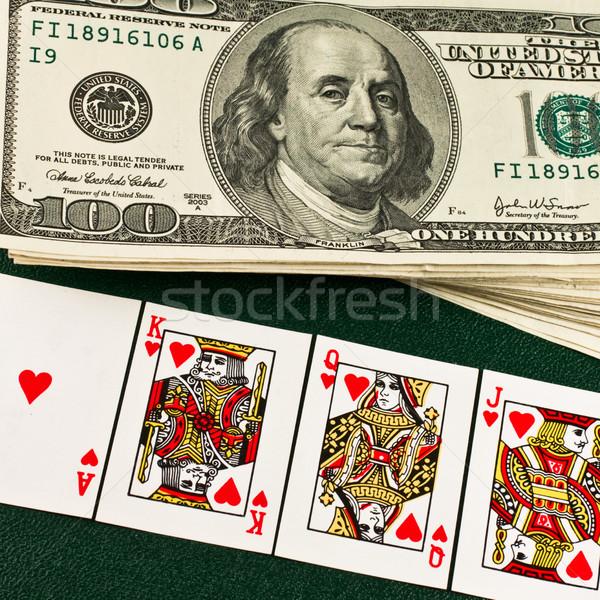 Dolar iskambil kartları ödül para iş soyut Stok fotoğraf © stokato