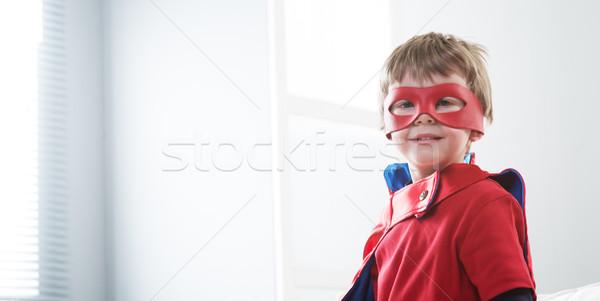 スーパーヒーロー 子供 笑みを浮かべて スーパーヒーロー ホーム 見える ストックフォト © stokkete