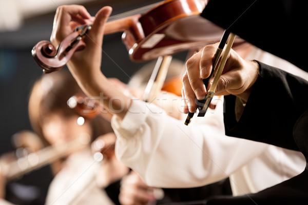 Előad kezek közelkép elegáns hegedű játékosok Stock fotó © stokkete