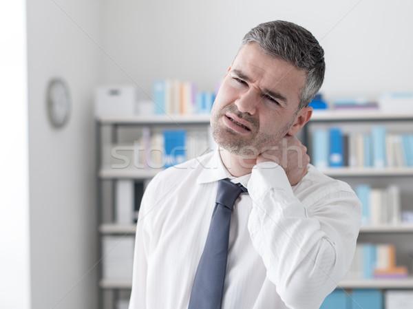 Zdjęcia stock: Ból · szyi · smutne · biznesmen · dotknąć · szyi