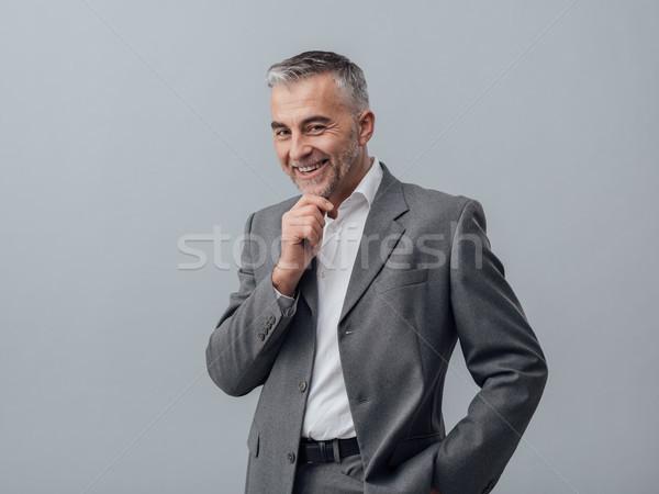 ビジネスマン 思考 手 スマート 良い ストックフォト © stokkete