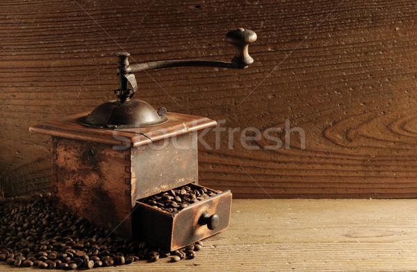 Kahve çekirdekleri zemin kahve öğütücü gıda Stok fotoğraf © stokkete