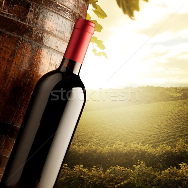 Wijnfles vat zonnige wijn Stockfoto © stokkete