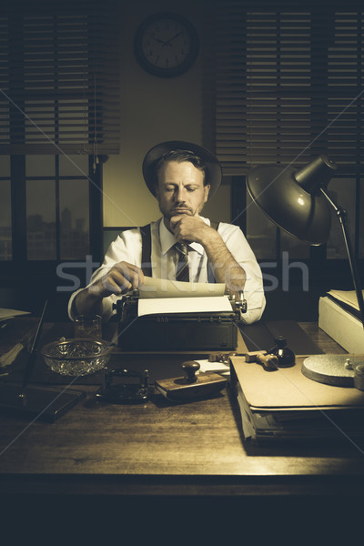 1950s journalist in his office late at night Stock photo © stokkete