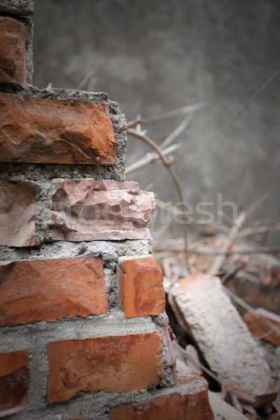 Demolición ladrillos roto paredes construcción basura Foto stock © stokkete