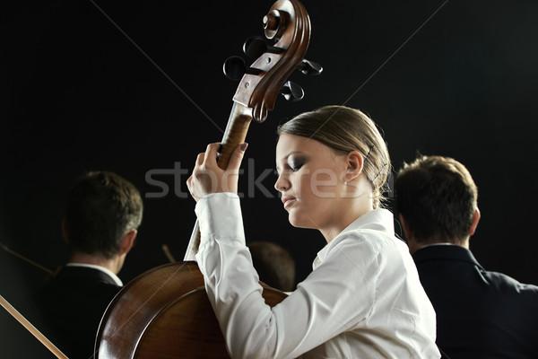Violoncelista concerto jovem bela mulher jogar violoncelo Foto stock © stokkete
