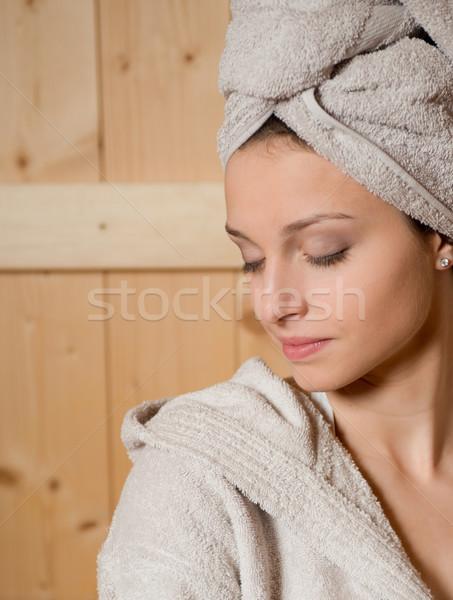 Kadın rahatlatıcı sauna genç kadın bank gözleri kapalı Stok fotoğraf © stokkete