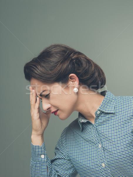 Сток-фото: Vintage · женщину · головная · боль · прикасаться · лоб · молодые